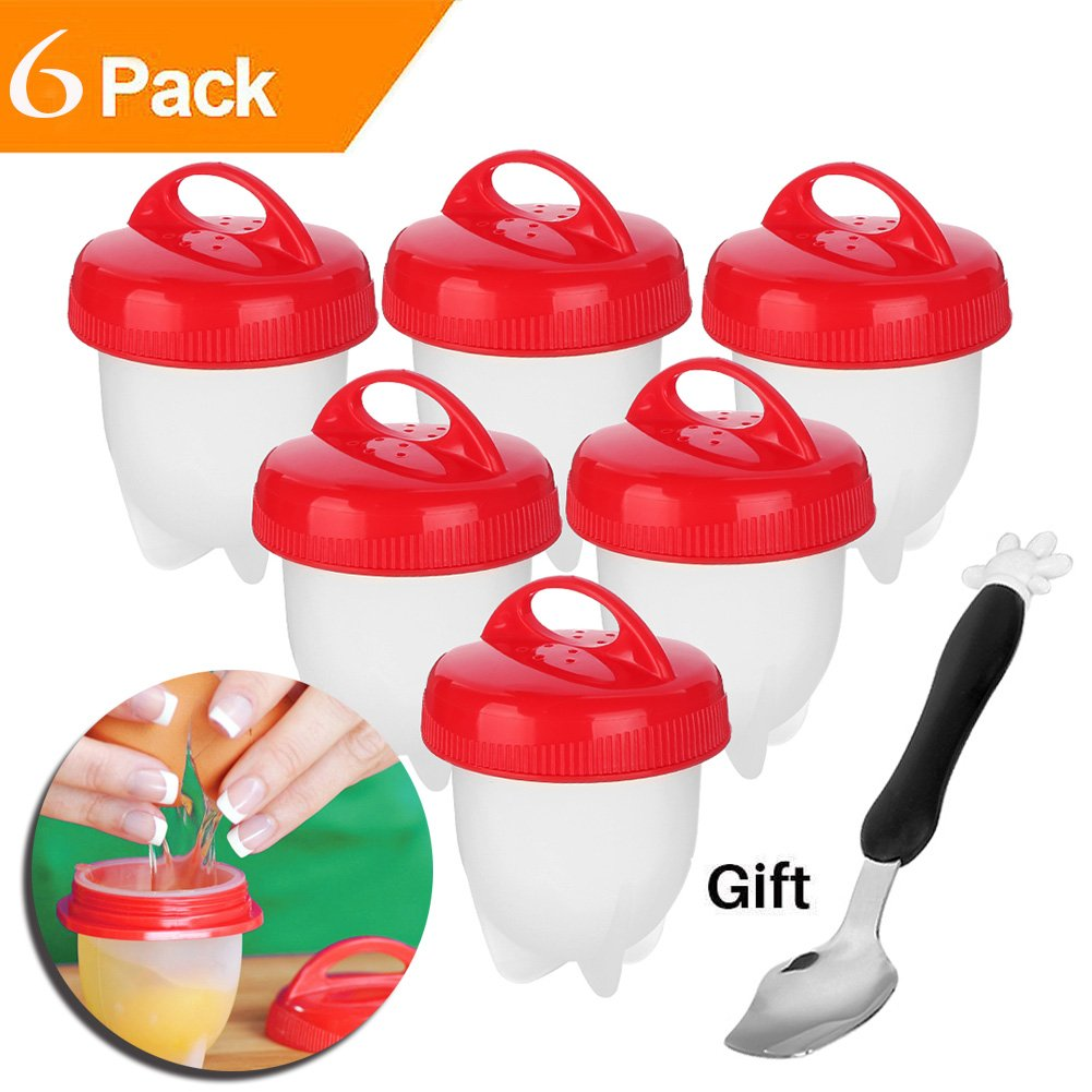 6 Packs, Non Stick Silicone BONUS - Cartoon Spoon BPA Free As Seen On TV Hard and Soft Maker Egg Cooker