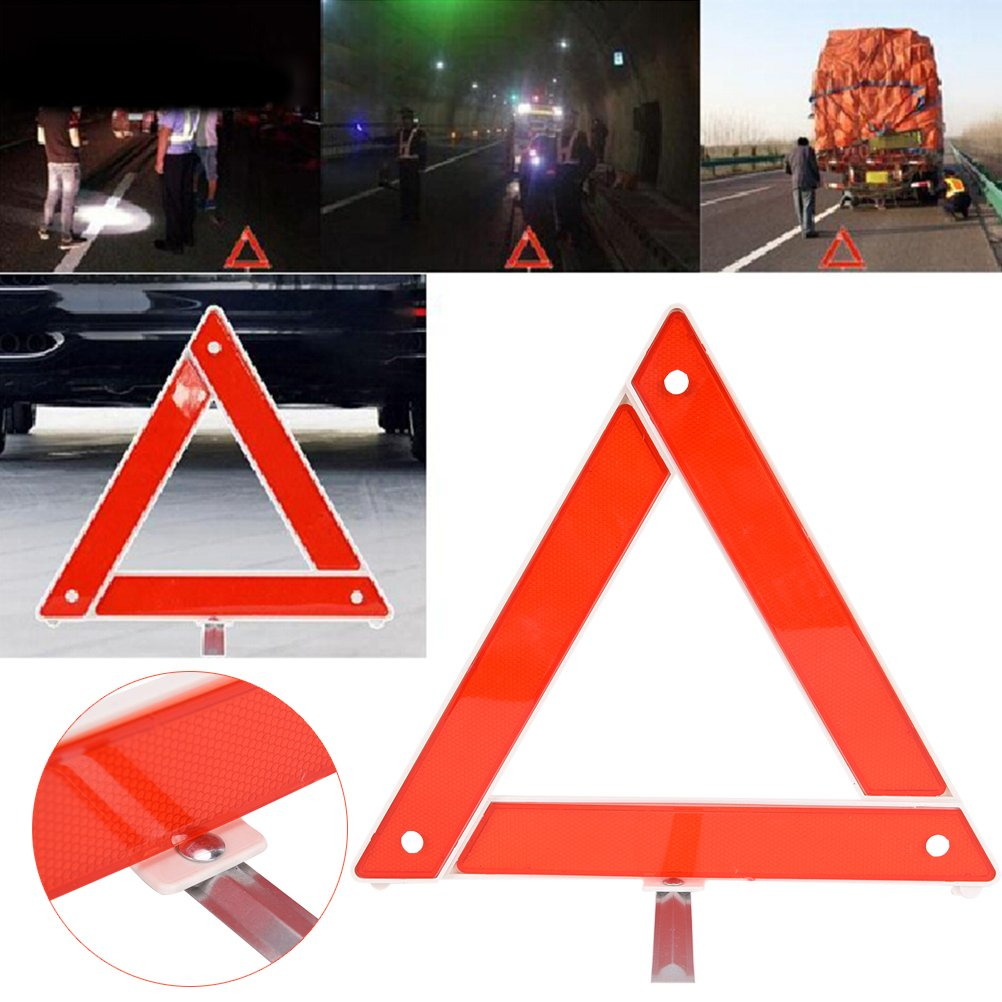 HonXins 1pcs Car Emergency Breakdown Warning Triangle Red Reflective Safety Hazard Car Tripod Folded Stop Sign Reflector
