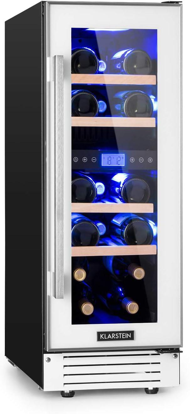 Klarstein Vinovilla 17 - Nevera para vinos, 2 zonas, 53 litros, 17 botellas, 30 cm de ancho, Puerta acristalada, Iluminación de 3 colores, 4 baldas de madera de haya, No vibra, Control táctil, Blanco