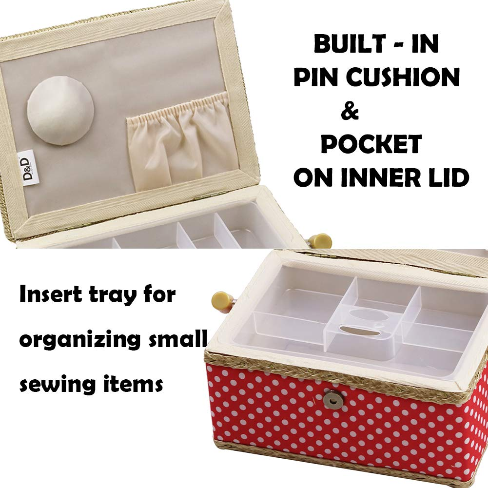 Medium Sewing Box with Kit Accessories Sewing Basket Organizer with Supplies DIY Sewing Kits for Adults Blue Polka Dots