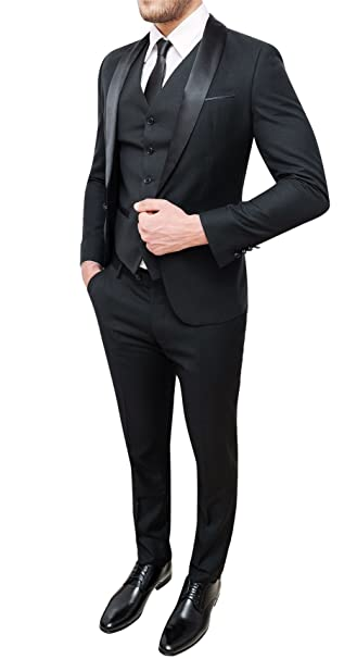 con Abito uomo completo sartoriale elegante panciotto nero e XBXqxr