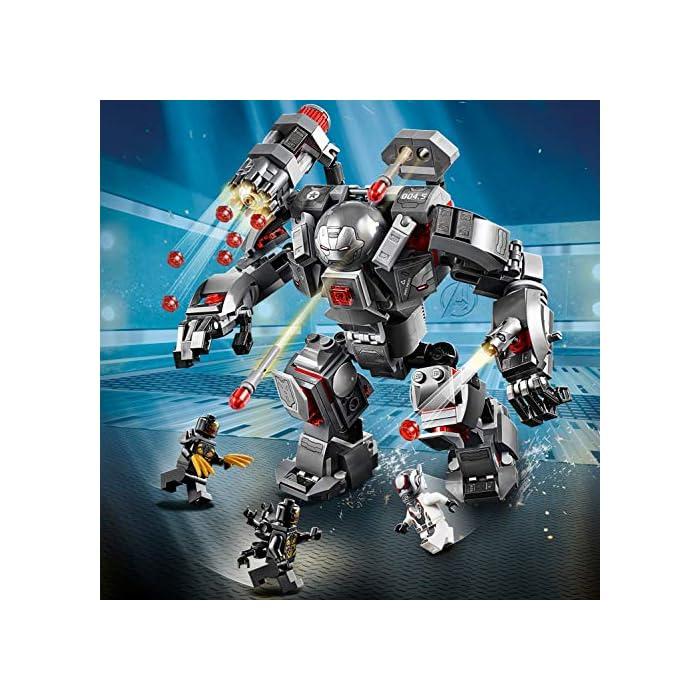 61DIKEsp34L Este set de superhéroes para construir incluye 4 minifiguras del universo Marvel: Máquina de Guerra, Ant-Man y 2 Outriders. El robot Depredador de Máquina de Guerra cuenta con cabina abatible para una minifigura, cañón rápido de 6 disparos, 2 cañones desmontables, 2 misiles, brazos y piernas articulados, manos prensiles y un compartimento que se abre para guardar munición adicional. Desmonta los cañones y colócalos en las manos y el hombro de la minifigura de Máquina de Guerra.