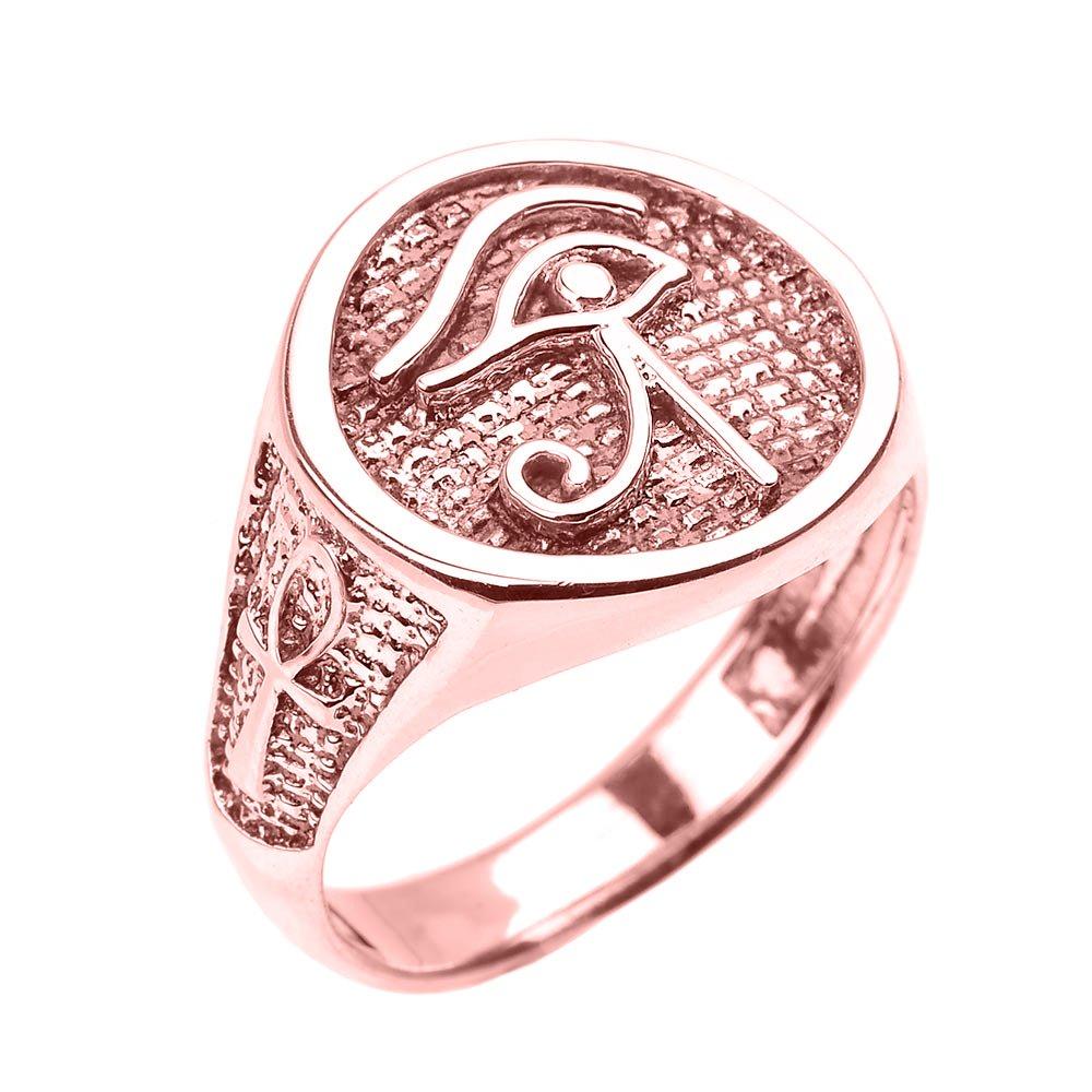 Men\'s Polished 14k Rose Gold Eye of Horus Ring with Egyptian Ankh ...
