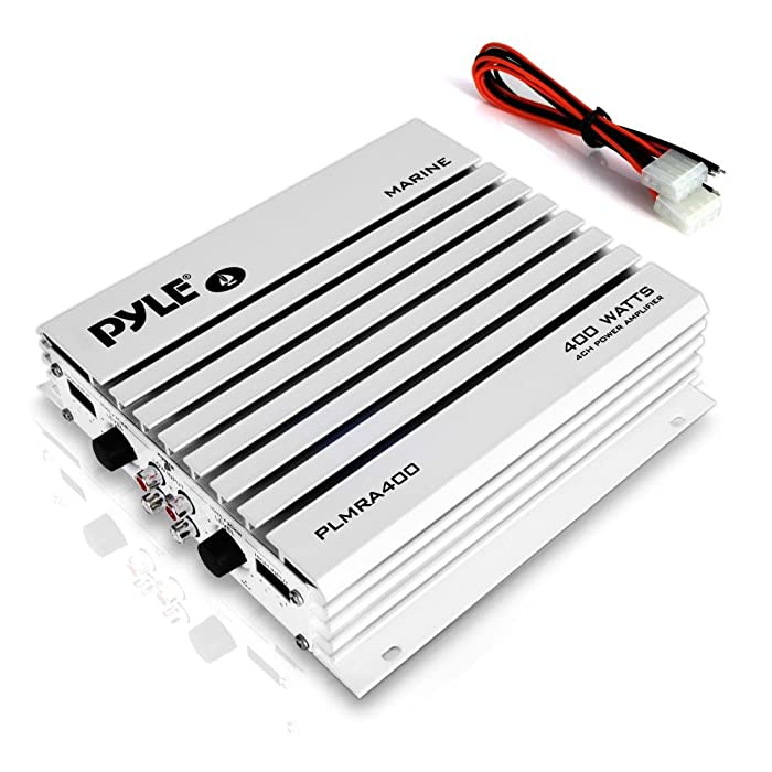 Pyle Hydra Marine Amplifier - Upgraded Elite Series 400 Watt 4 Channel Audio Amplifier - Waterproof, Dual MOSFET Power Supply, GAIN Level Controls, RCA Stereo Input & LED Indicator (PLMRA400)