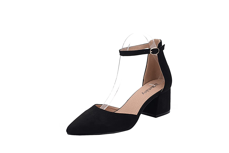 Black Ashley A NOVIA01 Women's Block Chunky Low Heel Ankle Strap Pointy Toe D'Orsay Dress Pump,