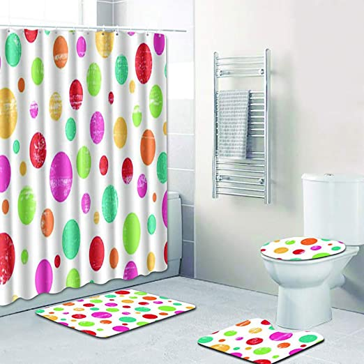 4pcs White Wolf Non-Slip Bathroom Toilet Seat Cover Bath Mat Set Shower Curtain