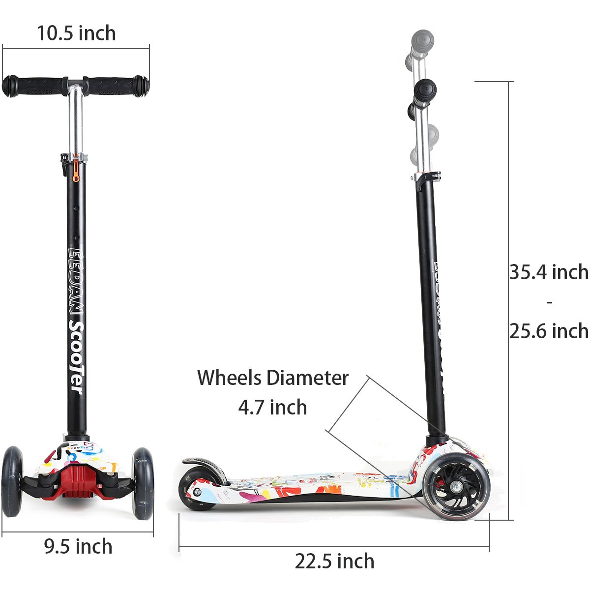 EEDAN Scooter for Kids 3 Wheel T-bar Adjustable Height Handle Kick Scooters with Deluxe PU Flashing Wheels Wide Deck for Boys/Girls from 2 to 14 ...