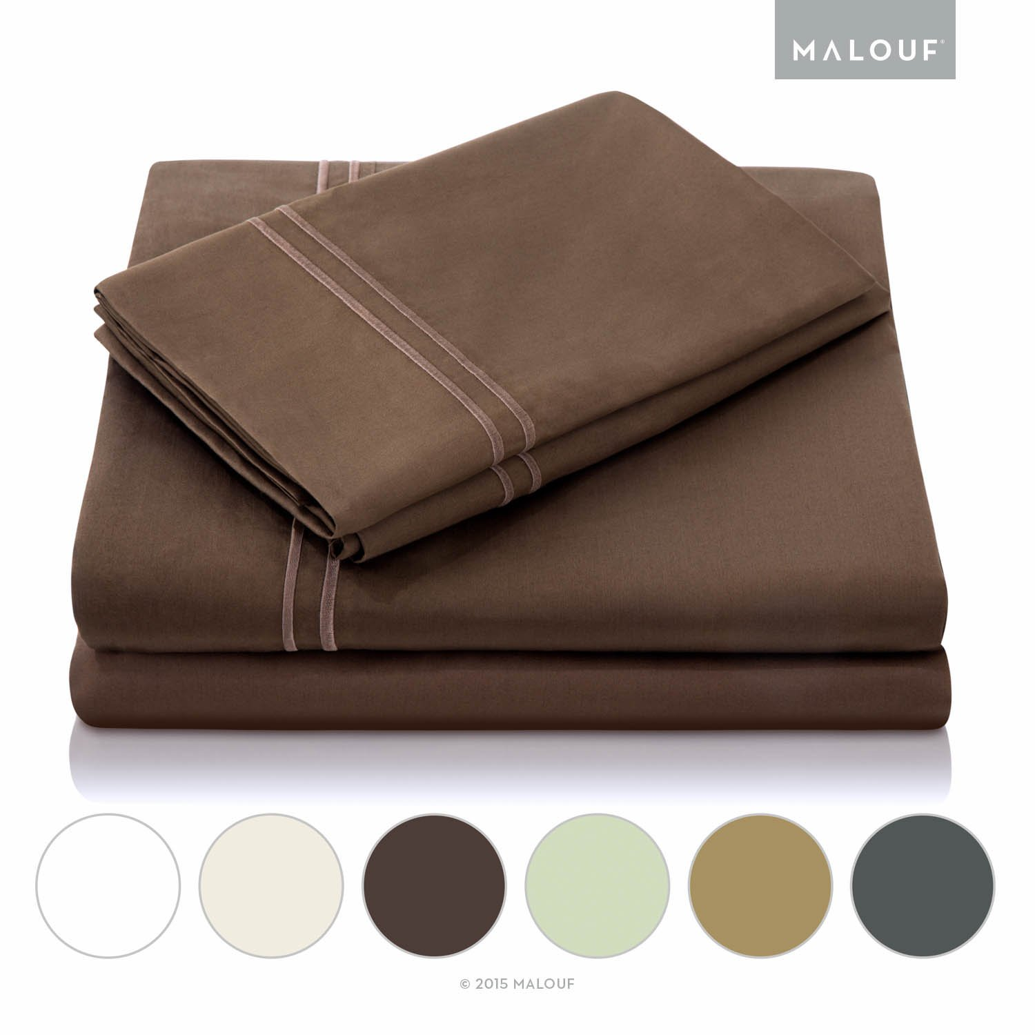 MALOUF 600 Thread Count Genuine Egyptian Cotton Single Ply Bed Sheet Set - King - Chocolate