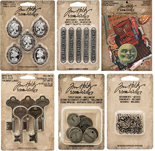 Tim Holtz Idea-ology Halloween Bundle - Crypt Cameos, Incantation Word Bands, Halloween Ephemera, Halloween Word Keys, Typed Tokens & Wicked Spiders (Halloween Ideas)
