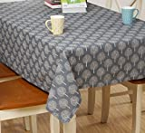 Line cotton Japanese simple style traditional life tree printed style tablecloth for rectangle table 55 x 55 inch approx blue