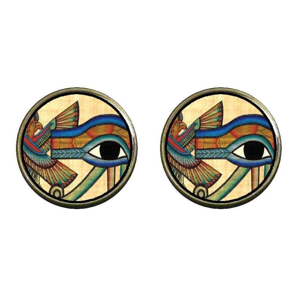 GiftJewelryShop Bronze Retro Style Egyptian Eye Of Horus Photo Clip On Earrings 14mm Diameter