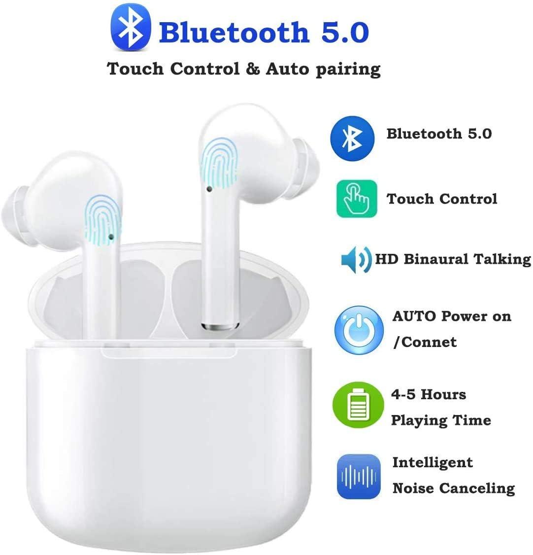 Maegoo Bluetooth Auriculares Inalámbricos 5.0, Bluetooth In-Ear Auriculares Cancelación Ruido Mini TWS Auriculares Micrófono Incorporado con Estuche Carga 24H Playtime para iPhone y Android