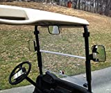 3 Piece Golf Cart Rear View AND Side View Mirror Kit for Ez Go, Club Car, Yamaha