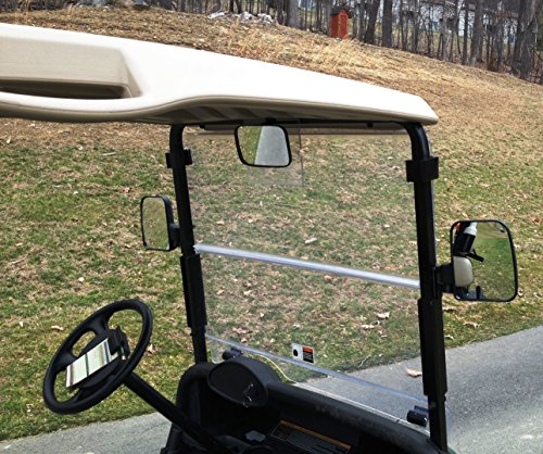 - 3 Piece Golf Cart Rear View AND Side View Mirror Kit for Ez Go, Club Car, Yamaha
