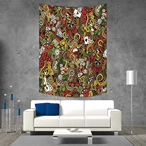 smallbeefly Casino Tapestry Table Cover Bedspread Beach Towel Doodles Style Artwork of Bingo and Cards Excitement Checkers King Tambourine Vegas Dorm Decor 54W x 72L INCH Multicolor by smallbeefly