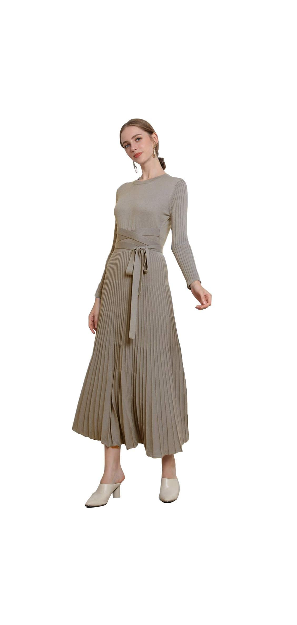 Women's Cashmere Crew Neck Knit Belt Fitted Pleated Dress
