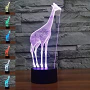 SUPERNIUDB Giraffe 3D Night Light Table Desk Optical Illusion Lamps 7 Color Changing Lights