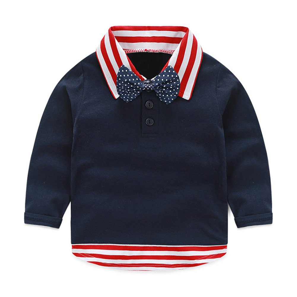 Mud Kingdom Toddler Boy Dress Shirt with Tie Casual Long Sleeve 4T Navy