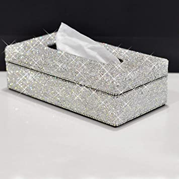 aoory Crystal Tissue Box Cover Rectangular Decorative Tissue Box Cover Tissue Holder Crystal Napkins Box for Elegant Decor