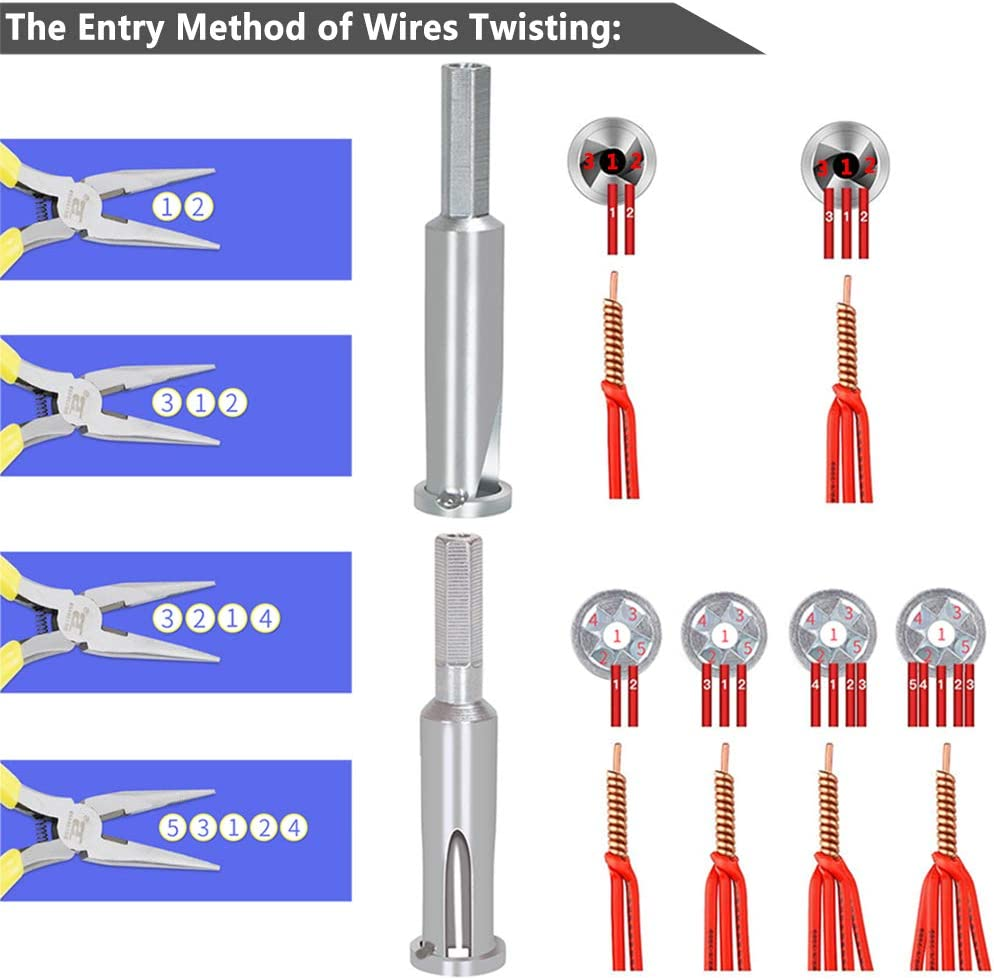 Wire Twisting Tool for Wire Cable Stripping 4 Square 3 Way//5 Way Twister