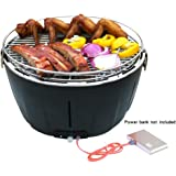 Aobosi Smokeless Grill Smokeless Charcoal Grill Portable Grill for Indoor and Outdoor Camping Barbecue Grill with Battery Fan Operated Temperature Control Black