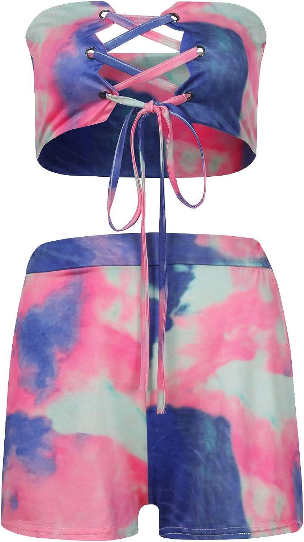 Hosenträger-Shorts mit Batikdruck für Damen Sexy