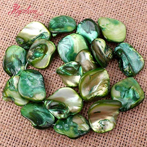 Calvas 9-13-13x18mm Freeform Irregular Shape Green Shell MOP Stone Beads for DIY Necklace Bracelat Jewelry Making 14""