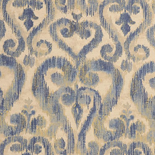 Bluestone Blue Beige Neutral Ikat Print Print Upholstery Fabric by the - Bluestone Fabric