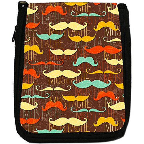 Fun Black Trendy With Bag Mustache Moustaches Canvas Medium Size Mustaches Shoulder Hipster zww1qIrT