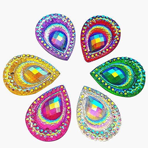 Beads 2 Hole Rhinestone Crystal - Bright 100pcs Mixed color Beads 13x18mm Crystal AB 2 Holes Sew on Rhinestones Flatback Sewing Stones For Clothes Dress Crafts Garments Accessory