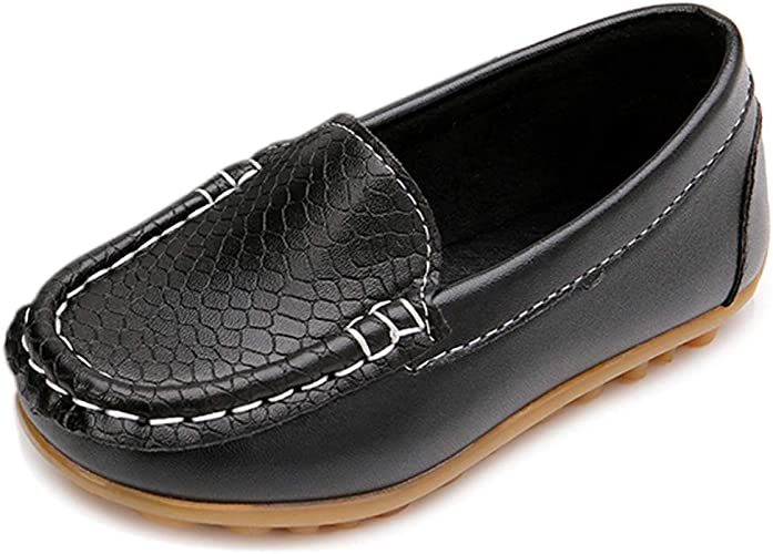 Black Silp On Church Casual Little Kids Boys Flats Back To School Youth Shoes