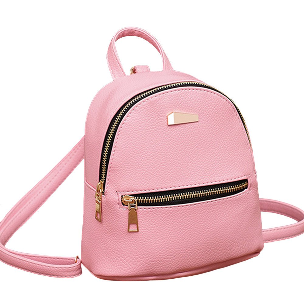 Creazrise Women Backpack,Girls Solid Color Leather Backpack Zipper Rucksack For Women (Pink A)