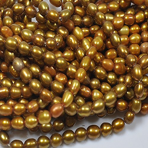 Baroque Rice Pearl (Assorted Freshwater Pearl Beads Gemstone Oval Loose Beads Rice beads Bulk Wholesale Beads Handmade DIY for jewelry making (4-5mm, Gold))