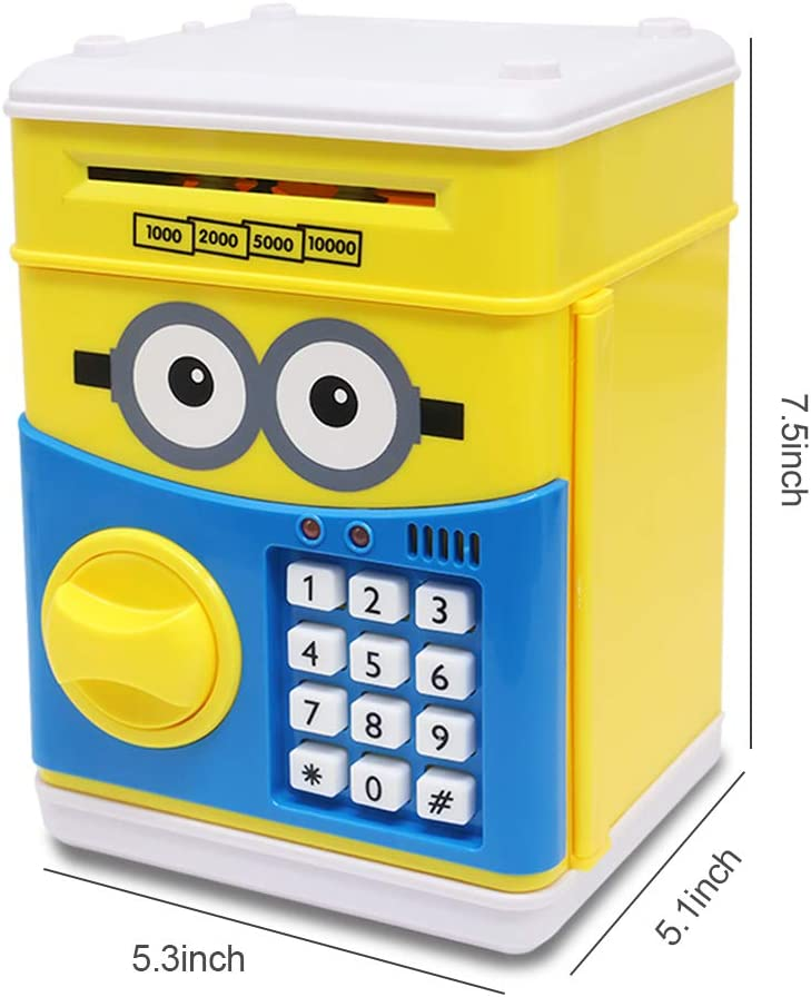 GuDoQi Password Piggy Bank Digital Electronic Money Bank Mini ATM Cash Coin Saving Can Toys Birthday Gifts for Kids Yellow Blue