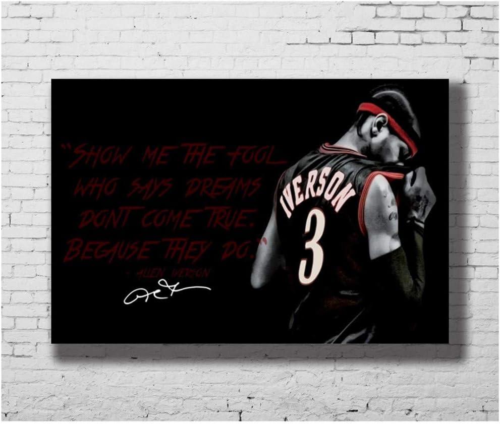 Allen Iverson Quotes Basket Sport Poster e Stampe Hot Art Poster Pittura su Tela Decorazioni per la casa Stampa su Tela 50x80cm Senza Cornice