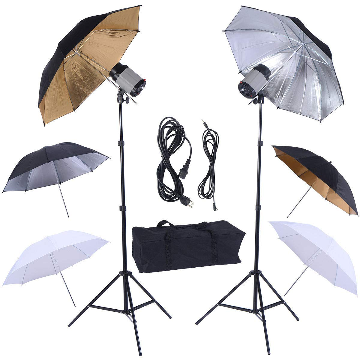 Safstar Photography Photo Studio 320W Monolights Strobe Flash Light Umbrella Lighting Kit - 2 x 160W Studio Flash/Strobe/Speedlite, 2 x Lighting Stands, 6 x 33 Umbrellas, 1x Heavy Duty Carrying Case by S AFSTAR