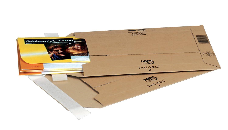NIPS 2 Safe-Well 142611114 Lot de 25 enveloppes DIN en carton ondulé Marron 200 x 286 mm A5 NIPS Ordnungssysteme GmbH