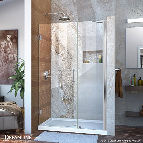 DreamLine Unidoor Min 45 in. to Max 46 in. Frameless Hinged Shower Door in Chrome finish, SHDR-20457210-01