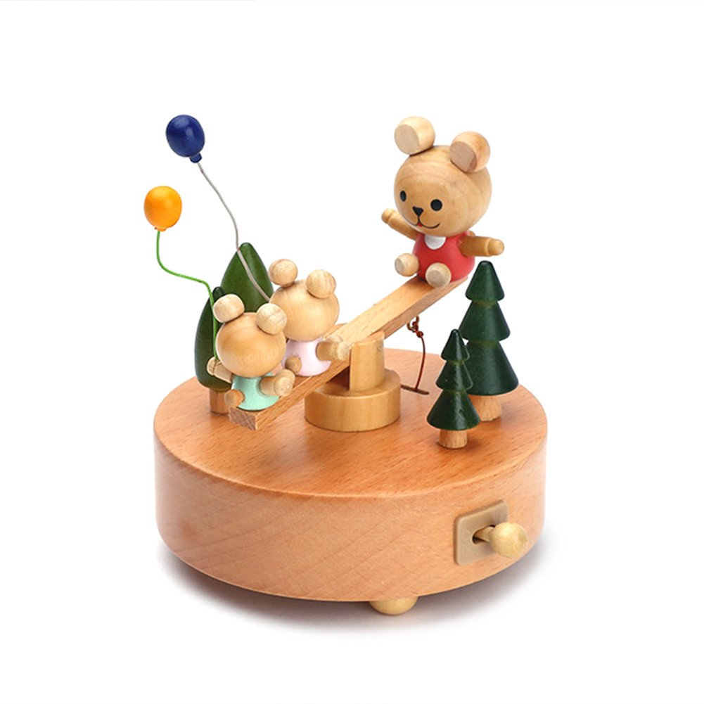 Wooden Music Box Little Bear Seesaw Toy Decoration Birthday Present Christmas Gift for Kids