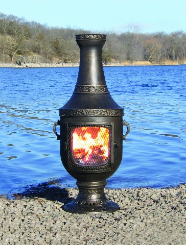 The Blue Rooster Venetian Chiminea In Gold Accent With Gas