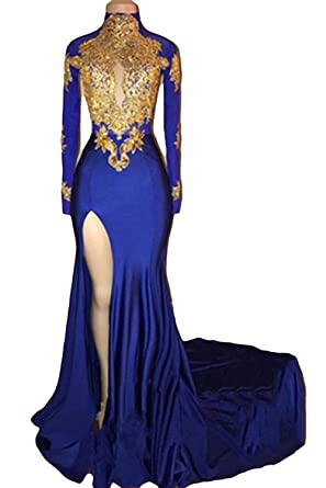 FIGHOUOR Womens Mermaid High Neck Prom Dress 2018 With Gold Appliques Long Sleeves Evening Gowns