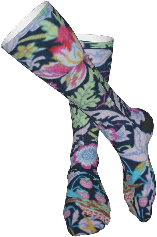 William Morris Strawberry Thief Unisex Elastic Long Socks Compression Knee High Socks For Sports Travel 19.7 Inch Running