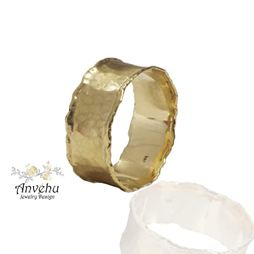 ade87c650fbb94 Amazon.com: Hammered wedding band Womens Gold Wedding ring Wide wedding  band Solid gold wedding ring handmade wedding band: Handmade