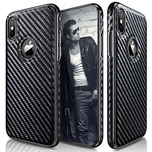 iPhone X Case, iPhone Xs Case (2018) LOHASIC Leather Carbon Fiber Slim & Thin Luxury PU Soft Flexible Anti-Slip Scratch Resistant Protective Cover for Apple iPhone X XS New Version - Carbon Fiber
