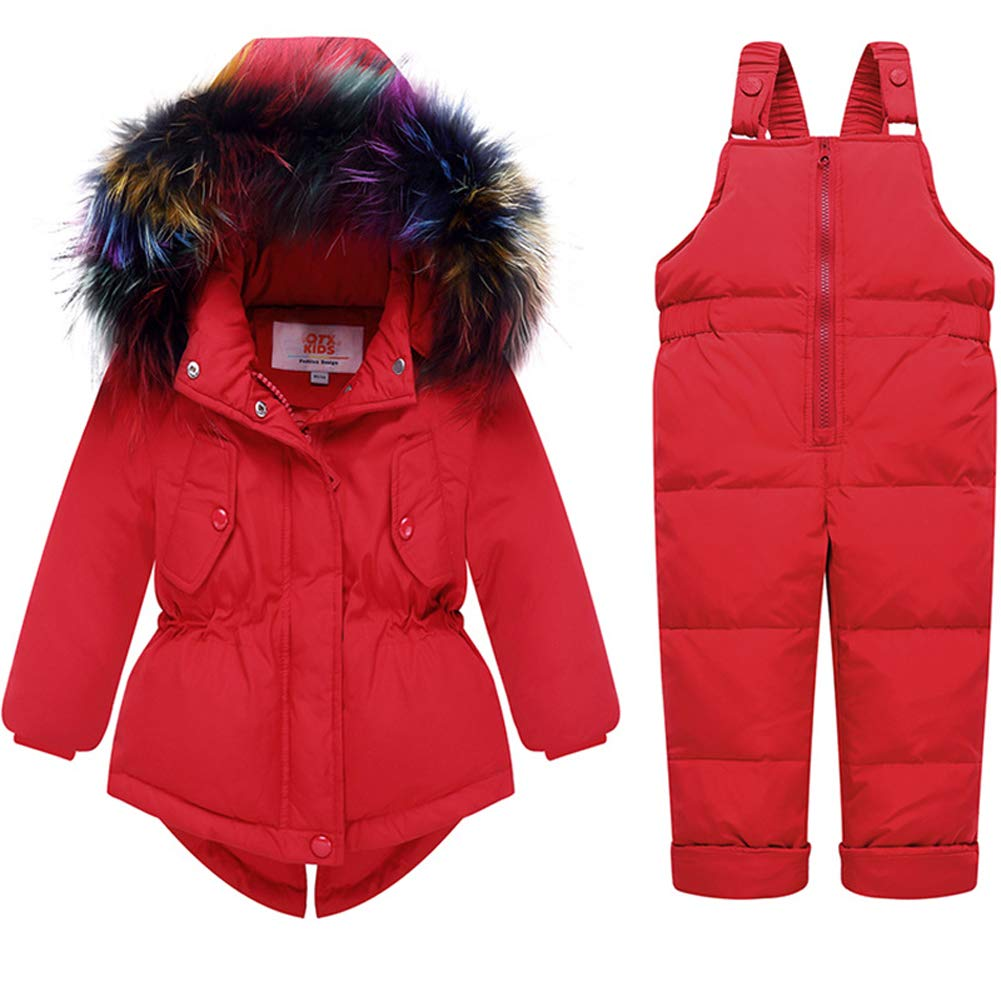 Hotmiss Baby Girls Winter 2 Piece Ski Jacket and Snowbib Snowsuit Outfit Set