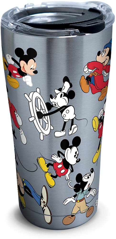 Tervis 1297811 Disney - Mickey Mouse 90th Birthday Stainless Steel Insulated Tumbler with Clear and Black Hammer Lid, 20oz, Silver by Tervis