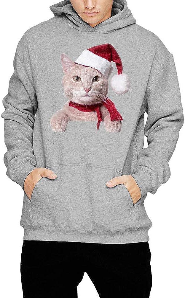 GREFER Men Women Hooded Sweatshirt Winter Cat Print Long Sleeve Tops Poller Christmas Costume