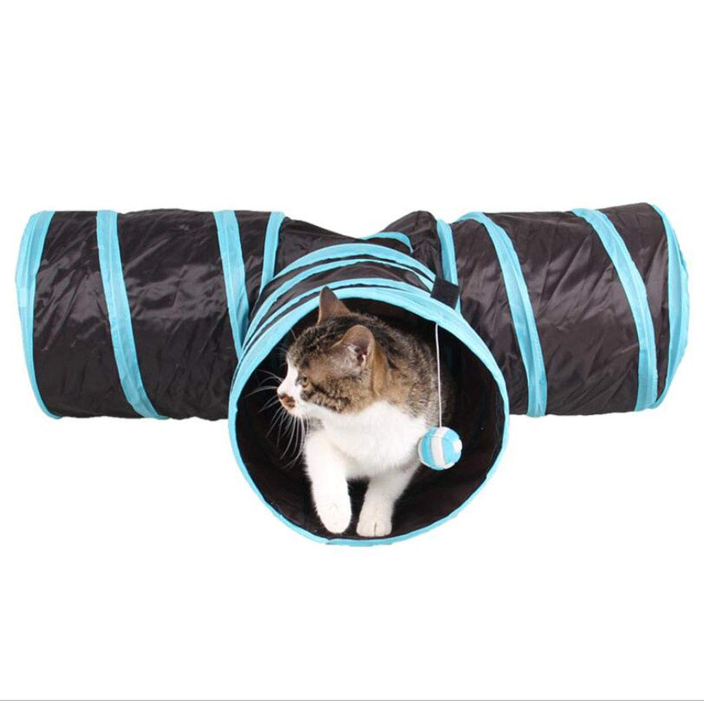 bluee Cat Toy Cat Supplies Channel Folding Cat Three-Way Tunnel,bluee
