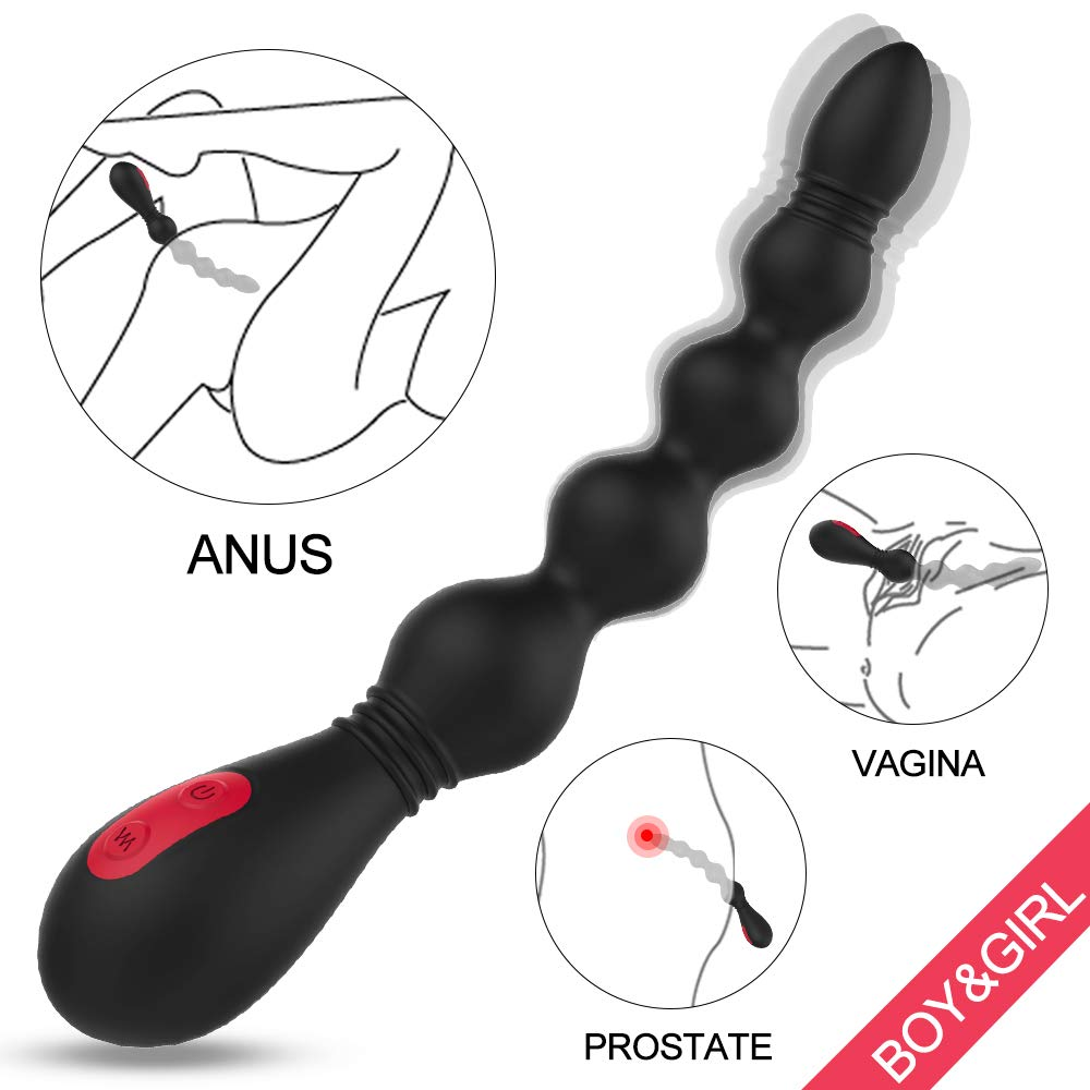 Vibrating Anal Beads Vibrator Butt Plug, Flexible Silicone 9 Speeds Waterproof Prostate Massager Anal Stimulator Sex Toy for Men, Women and Couples