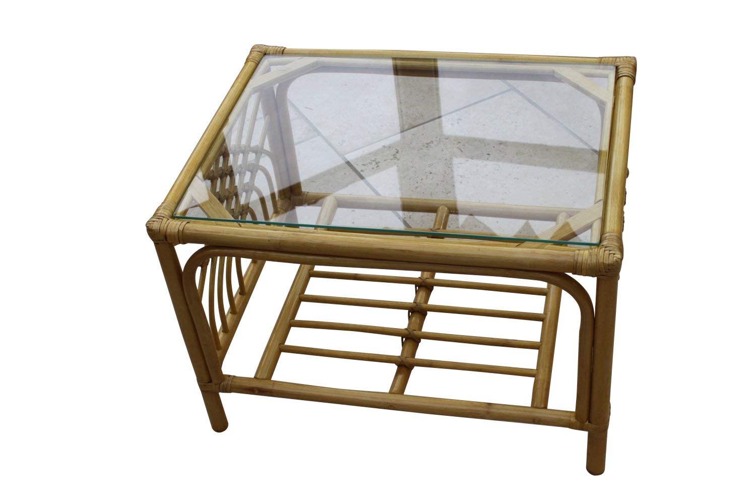 Garden Market Place Portofino Cane Coffee Table in a Natural Finish-Tempered Glass 66 X51 X 46